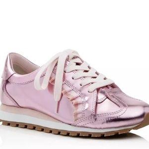 SALE!! Tory Burch Ruffle Pink Metallic Sneaker 11